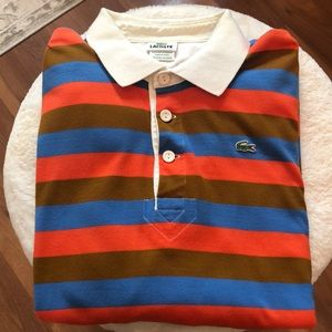 Lacoste Mens Striped long sleeve polo size XL